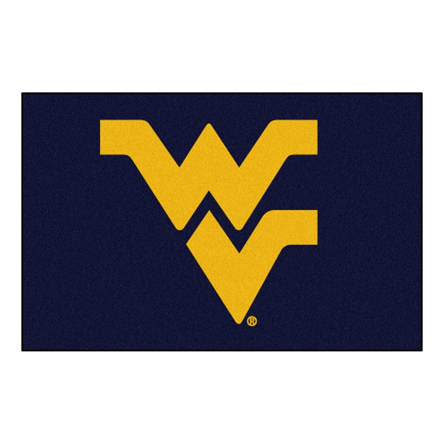 FANMATS West Virginia University Rectangular Indoor Machine-Made Sports Throw Rug (Common: 1-1/2 x 2-1/2; Actual: 1.583-ft W x 2.5-ft L x dia)
