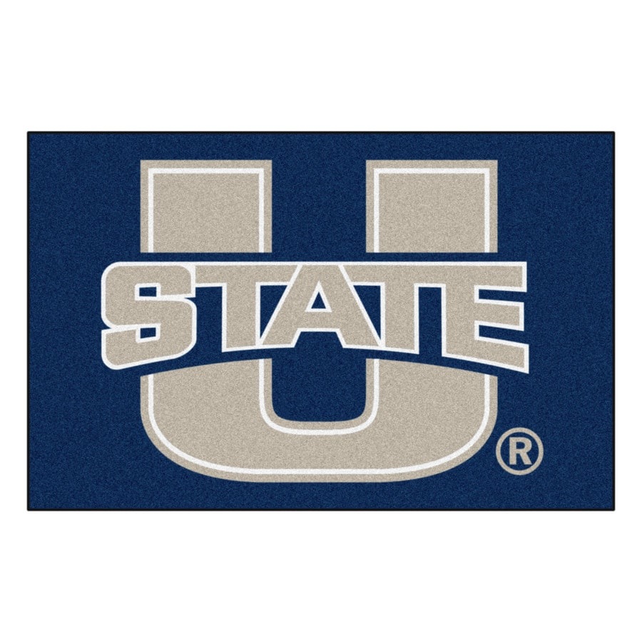 FANMATS Utah State University Rectangular Indoor Machine-Made Sports Throw Rug (Common: 1-1/2 x 2-1/2; Actual: 1.583-ft W x 2.5-ft L x dia)