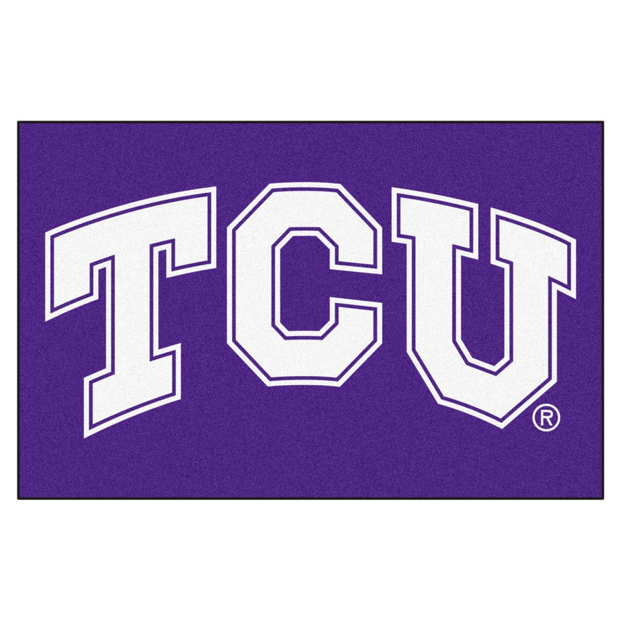 FANMATS Texas Christian University Rectangular Indoor Machine-Made Sports Throw Rug (Common: 1-1/2 x 2-1/2; Actual: 1.583-ft W x 2.5-ft L x dia)
