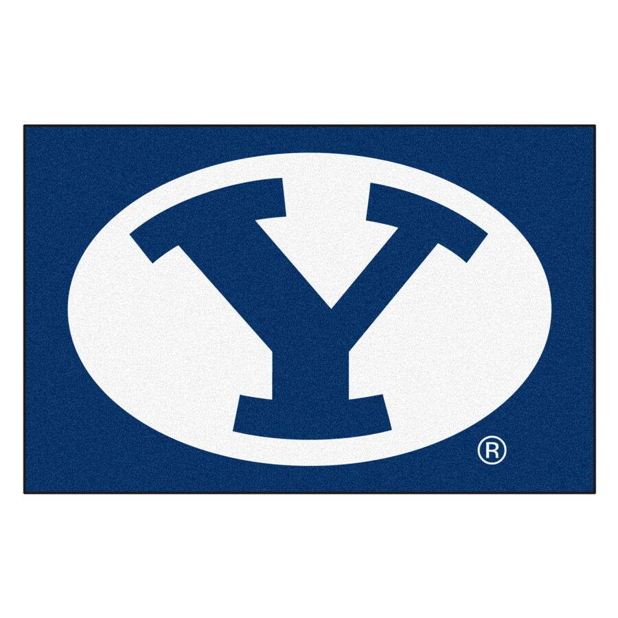 FANMATS Brigham Young University Rectangular Indoor Machine-Made Sports Throw Rug (Common: 1-1/2 x 2-1/2; Actual: 1.583-ft W x 2.5-ft L x dia)