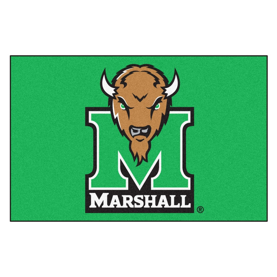 FANMATS Marshall University Rectangular Indoor Machine-Made Sports Throw Rug (Common: 1-1/2 x 2-1/2; Actual: 1.583-ft W x 2.5-ft L x dia)
