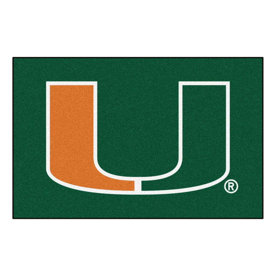 FANMATS University Of Miami Multicolor Rectangular Indoor Machine-Made Sports Throw Rug (Common: 1-1/2 x 2-1/2; Actual: 19-in W x 30-in L x 0-ft Dia)