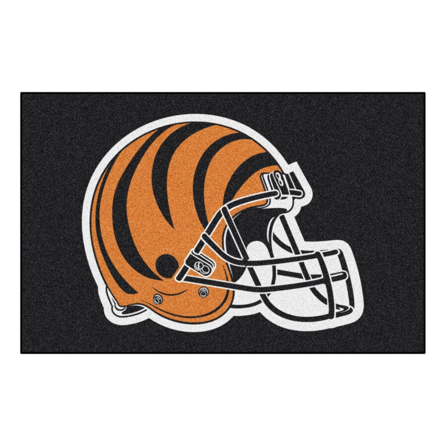 FANMATS Cincinnati Bengals Rectangular Indoor Machine-Made Sports Throw Rug (Common: 1-1/2 x 2-1/2; Actual: 1.583-ft W x 2.5-ft L x dia)
