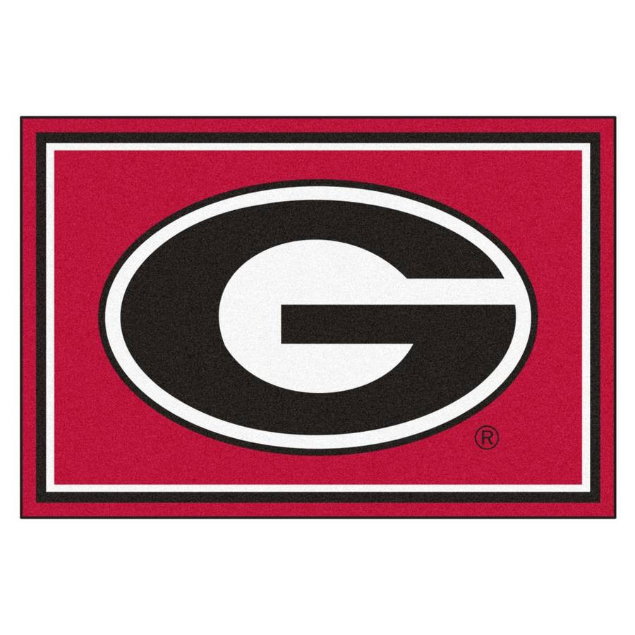 FANMATS University Of Georgia Red Rectangular Indoor Tufted Sports Area Rug (Common: 5 x 8; Actual: 5-ft W x 8-ft L)
