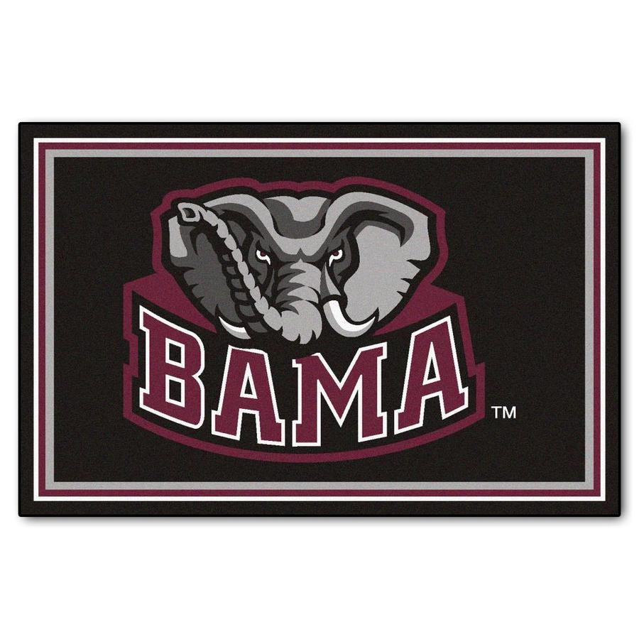 FANMATS University Of Alabama Black Rectangular Indoor Tufted Sports Area Rug (Common: 5 x 8; Actual: 5-ft W x 8-ft L)