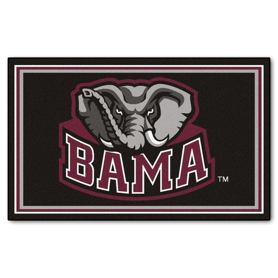 FANMATS University Of Alabama Black Rectangular Indoor Tufted Sports Area Rug (Common: 4 x 6; Actual: 4-ft W x 6-ft L)