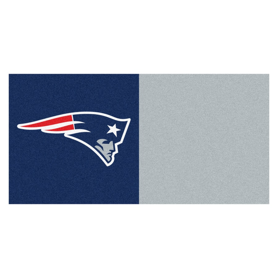 FANMATS 20-Pack 18-in x 18-in Patriots Blue/Red Textured Peel-and-Stick Carpet Tile