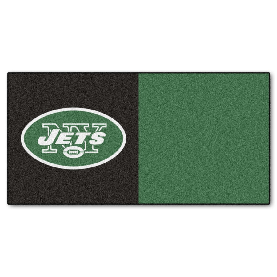 FANMATS 20-Pack 18-in x 18-in Jets Black/Green Indoor Cut Pile Peel-and-Stick Carpet Tile