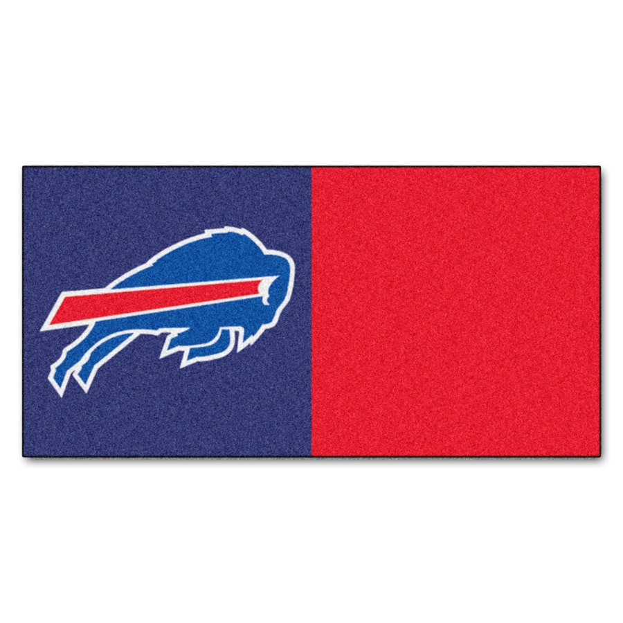 FANMATS 20-Pack 18-in x 18-in Bills Blue/Red Adhesive-Backed Carpet Tile