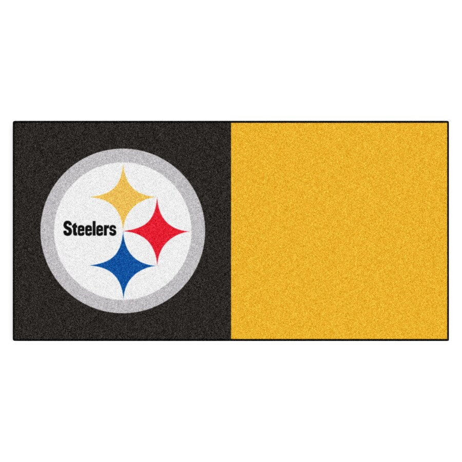 FANMATS 20-Pack 18-in x 18-in Steelers Black/Gold Adhesive-Backed Carpet Tile