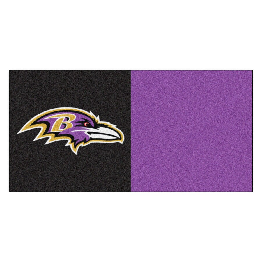 FANMATS 20-Pack 18-in x 18-in Ravens Black/Purple Indoor Cut Pile Peel-and-Stick Carpet Tile