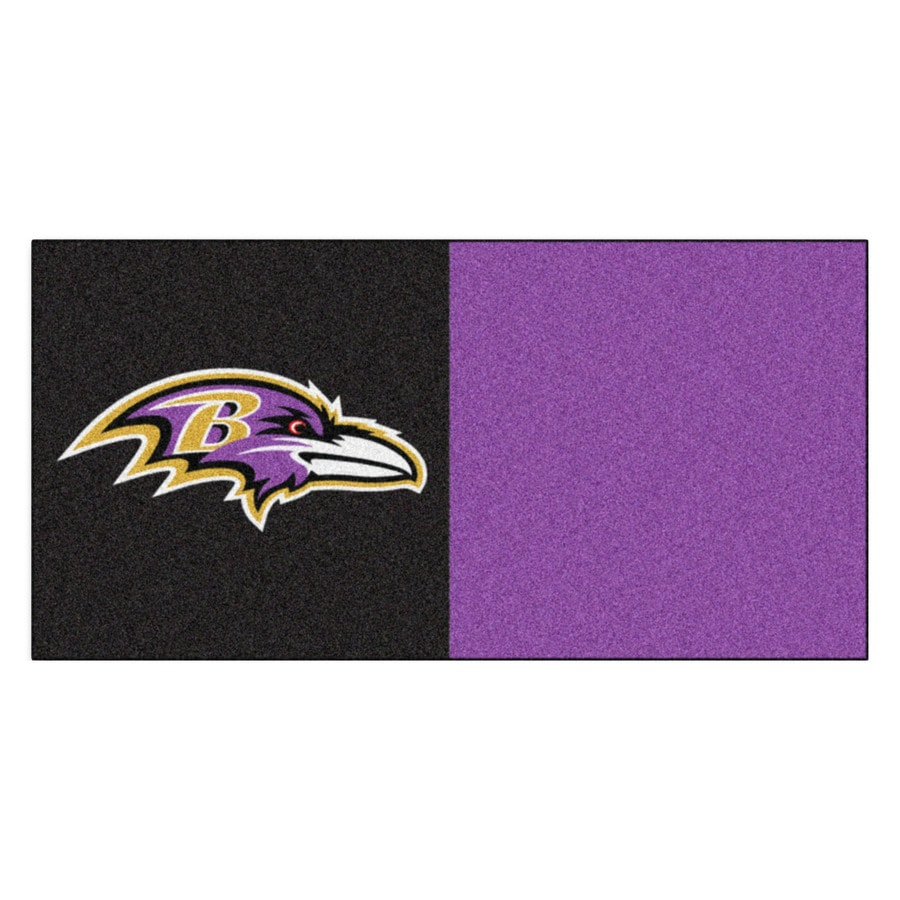 FANMATS 20-Pack 18-in x 18-in Ravens Black/Purple Textured Peel-and-Stick Carpet Tile