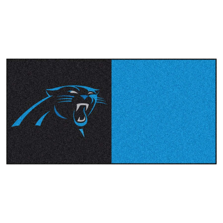 FANMATS 20-Pack 18-in x 18-in Panthers Black/Blue Adhesive-Backed Carpet Tile