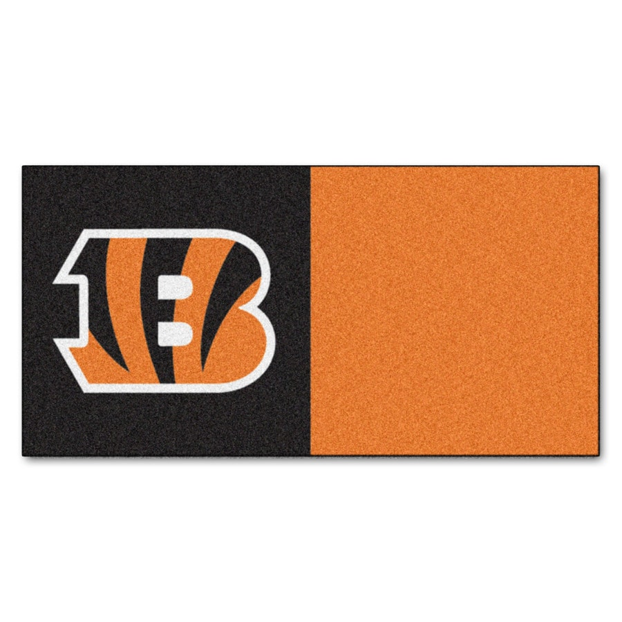 FANMATS 20-Pack 18-in x 18-in Bengals Brown/Orange Indoor Cut Pile Peel-and-Stick Carpet Tile