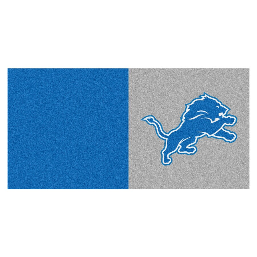 FANMATS 20-Pack 18-in x 18-in Lions Gray/Blue Indoor Cut Pile Peel-and-Stick Carpet Tile