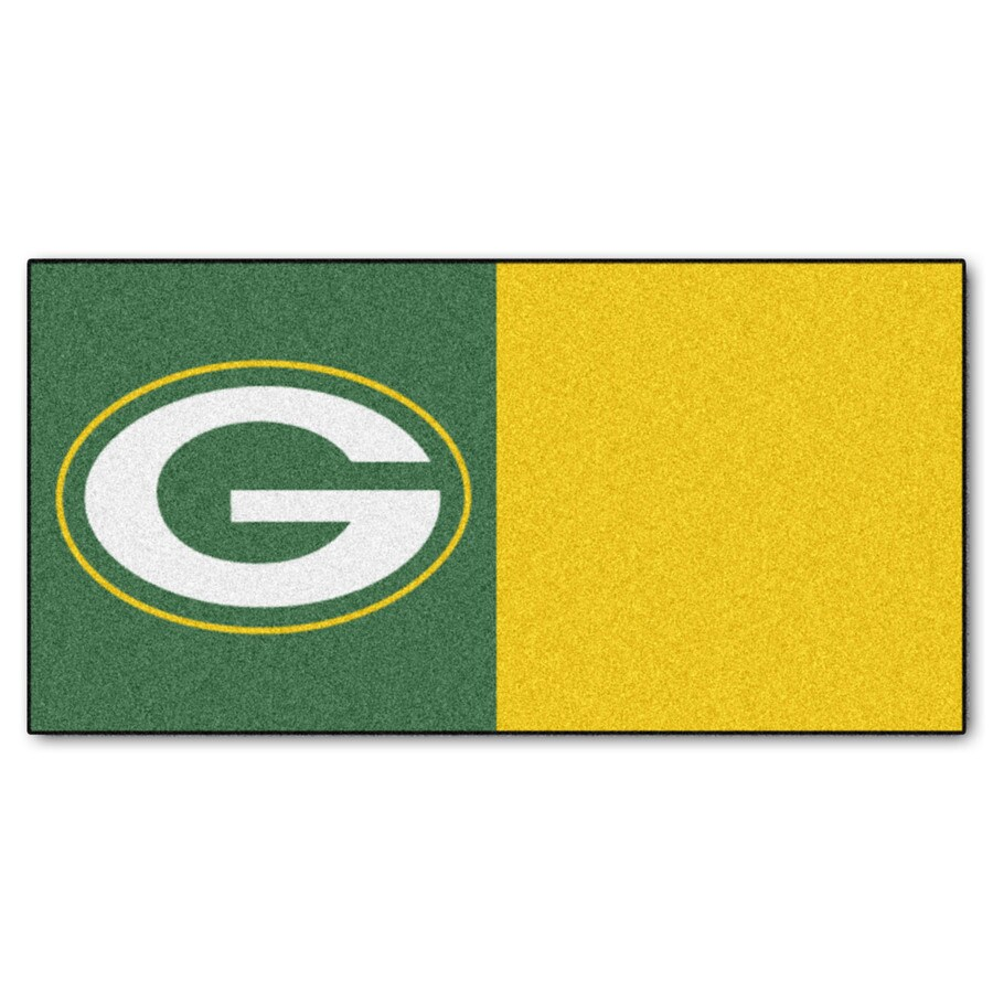 FANMATS 20-Pack 18-in x 18-in Packers Green/Gold Indoor Cut Pile Peel-and-Stick Carpet Tile