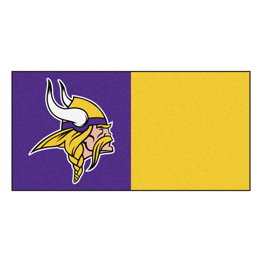 FANMATS 20-Pack 18-in x 18-in Vikings Purple/Gold Indoor Cut Pile Peel-and-Stick Carpet Tile