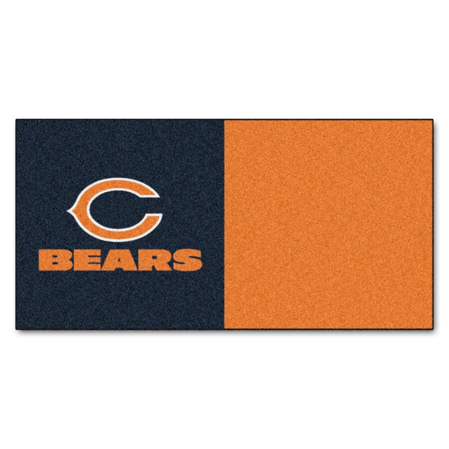 FANMATS 20-Pack 18-in x 18-in Bears Blue/Orange Adhesive-Backed Carpet Tile