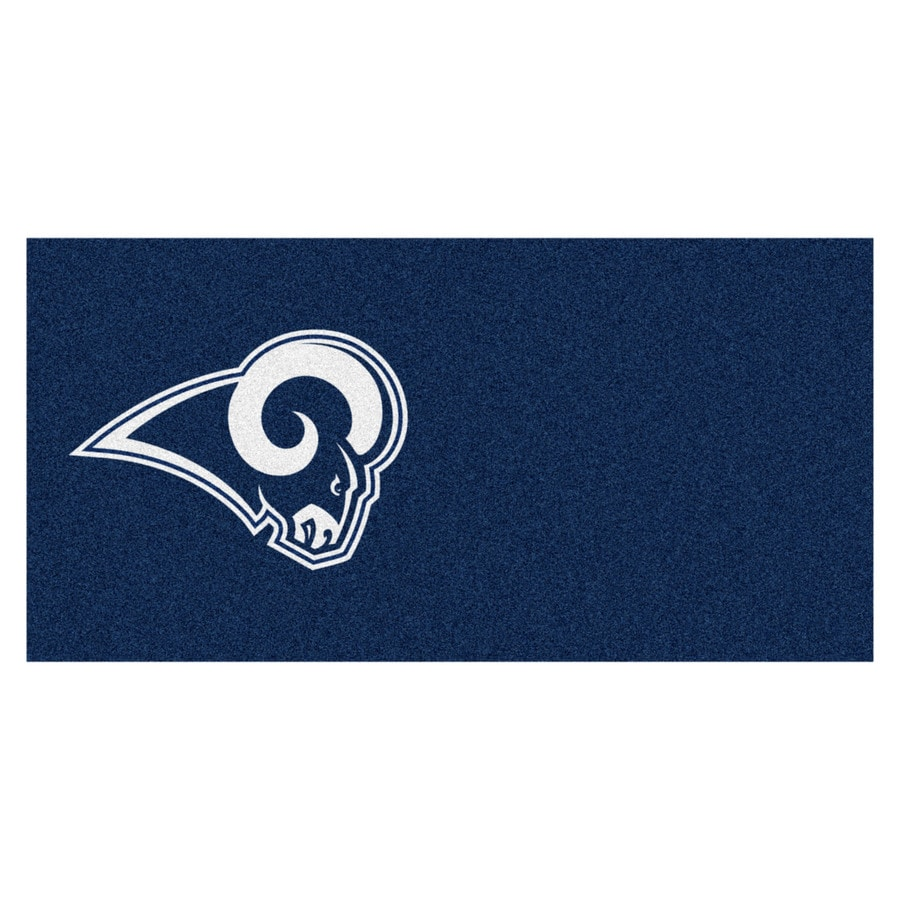 FANMATS 20-Pack 18-in x 18-in Rams Blue/Brown Indoor Cut Pile Peel-and-Stick Carpet Tile
