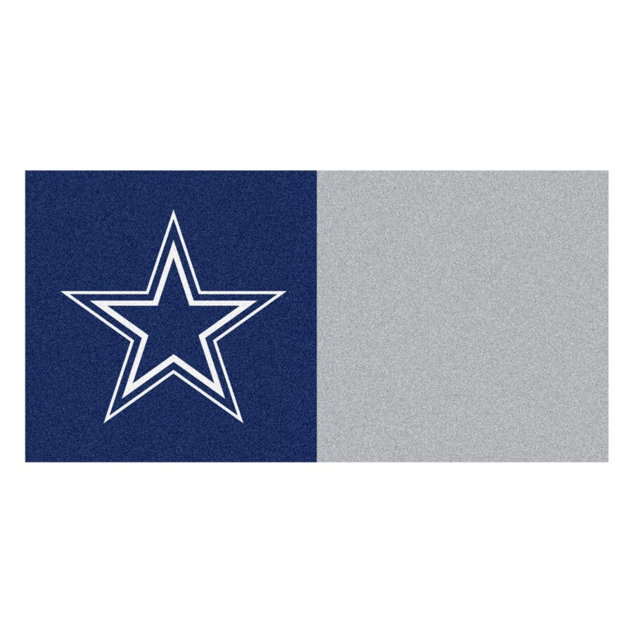 FANMATS 20-Pack 18-in x 18-in Cowboys Blue/Grey Indoor Cut Pile Peel-and-Stick Carpet Tile
