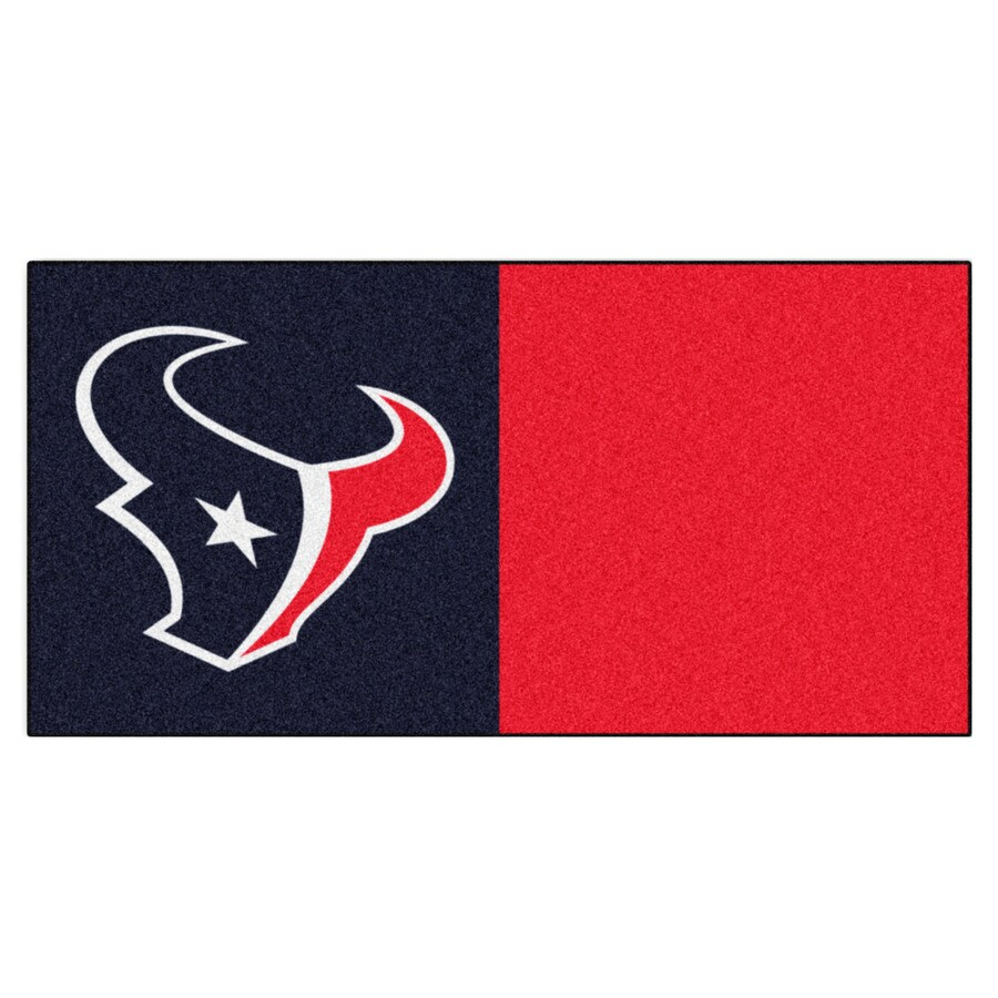FANMATS 20-Pack 18-in x 18-in Texans Blue/Red Indoor Cut Pile Peel-and-Stick Carpet Tile