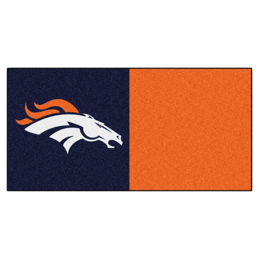 FANMATS 20-Pack 18-in x 18-in Broncos Blue/Orange Textured Peel-and-Stick Carpet Tile