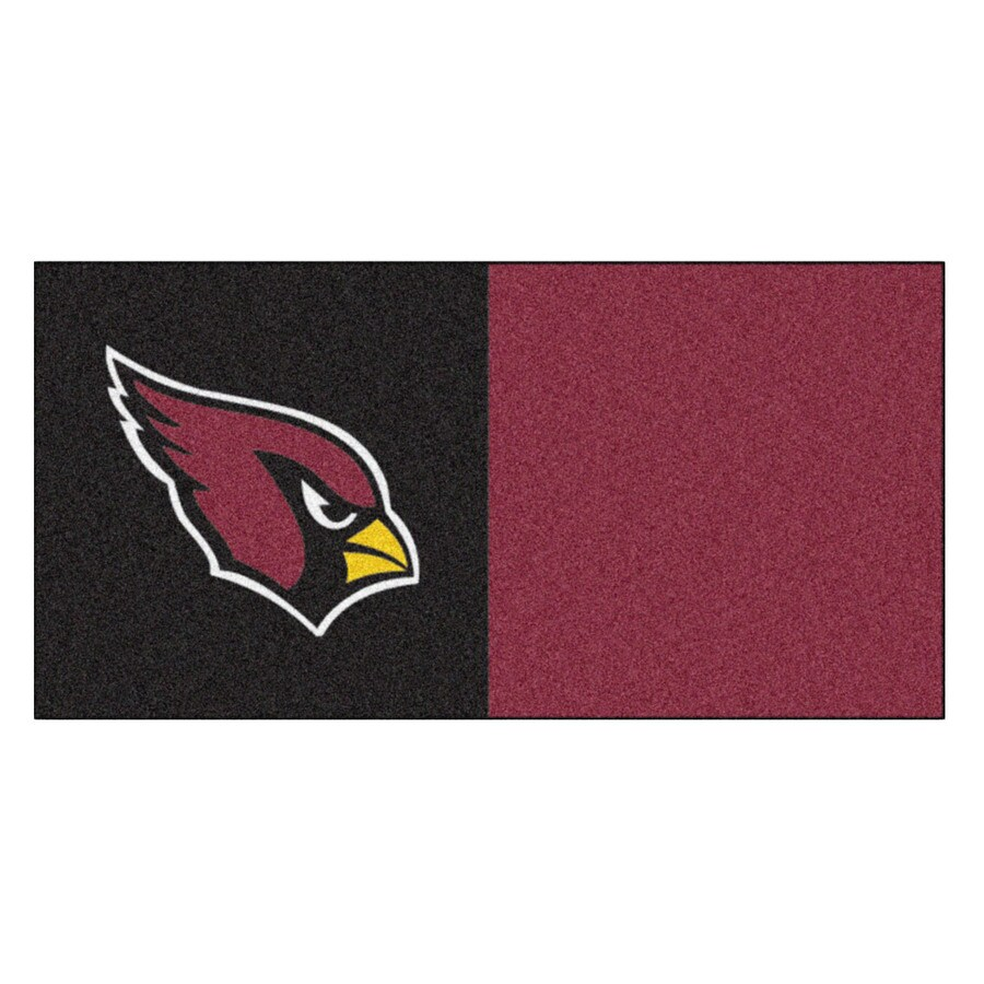 FANMATS 20-Pack 18-in x 18-in Cardinals Black/Maroon Adhesive-Backed Carpet Tile