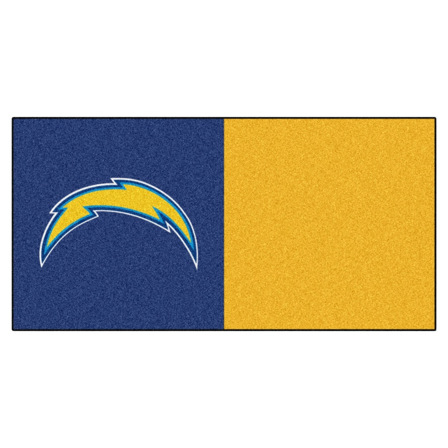 FANMATS 20-Pack 18-in x 18-in Charges Blue/Yellow Indoor Cut Pile Peel-and-Stick Carpet Tile