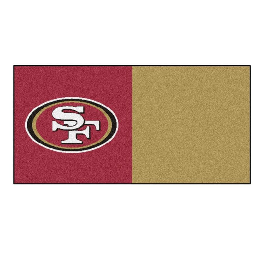 FANMATS 20-Pack 18-in x 18-in 49Ers Red/Brown Adhesive-Backed Carpet Tile