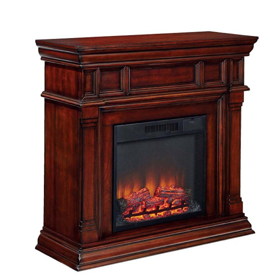 800-BTU Cherry Wood Fan-Forced Electric Fireplace with Remote Control at Lowes.com