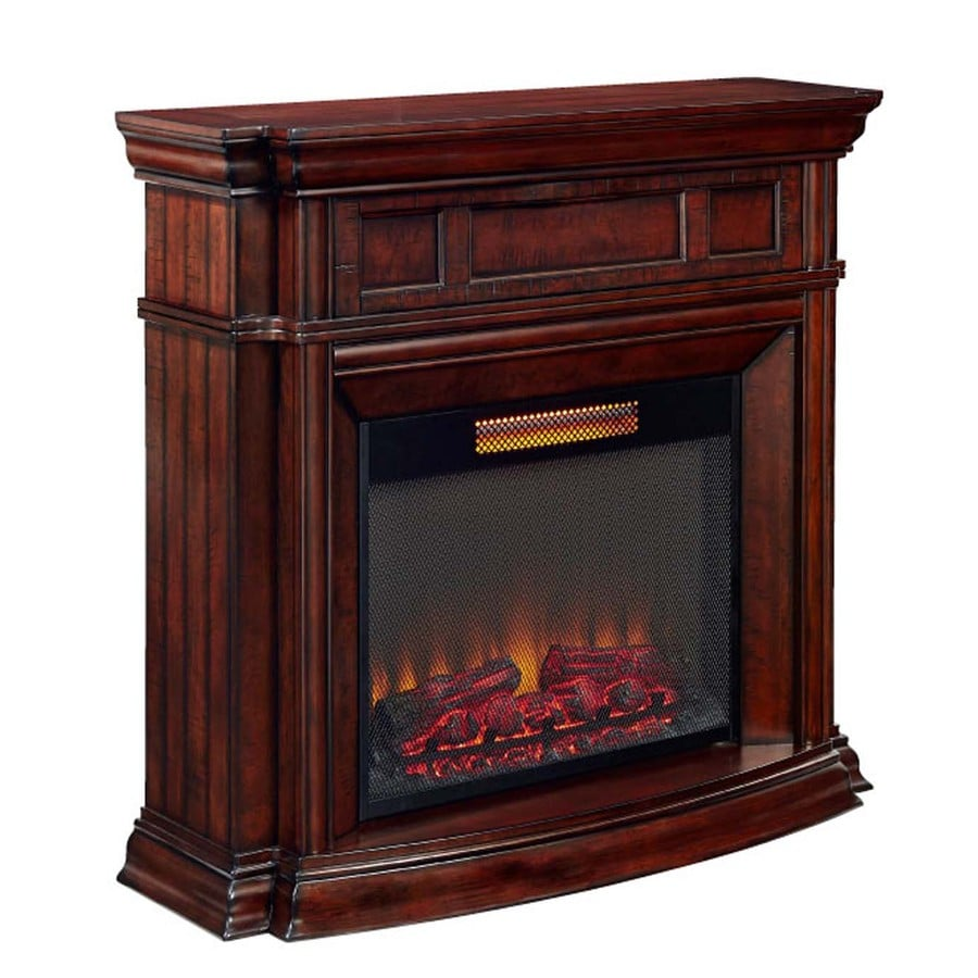 Style Selections 48-in W 5,200-BTU Walnut Wood Infrared Quartz Electric  Fireplace with - Shop Style Selections 48-in W 5,200-BTU Walnut Wood Infrared