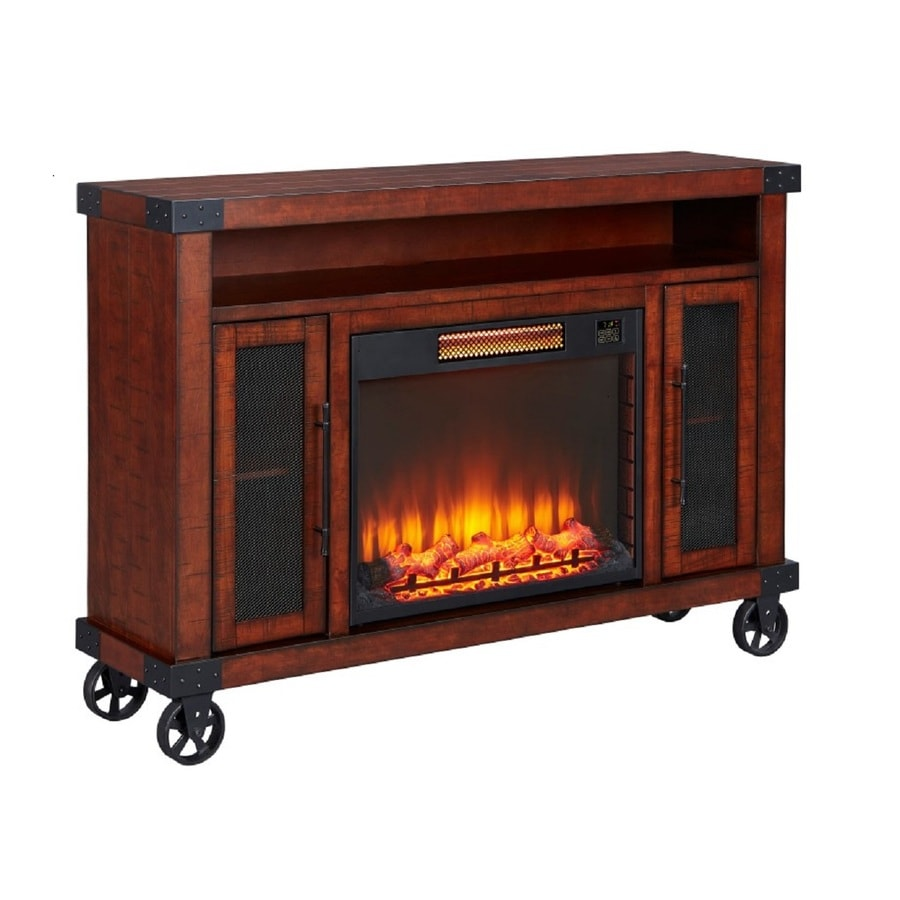 shop emberhearth 60 in w 5000 btu walnut wood flat wall infrared