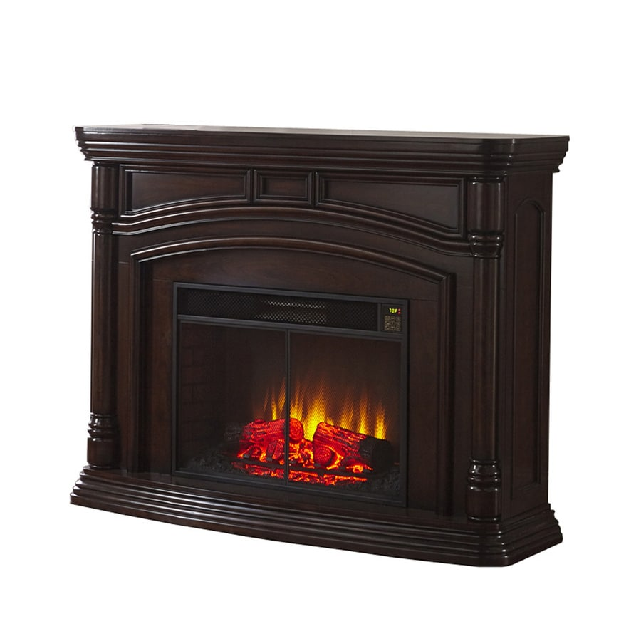 Style Selections 62-in W 5,200-BTU Walnut Wood Infrared Quartz Electric Fireplace with Thermostat and Remote Control