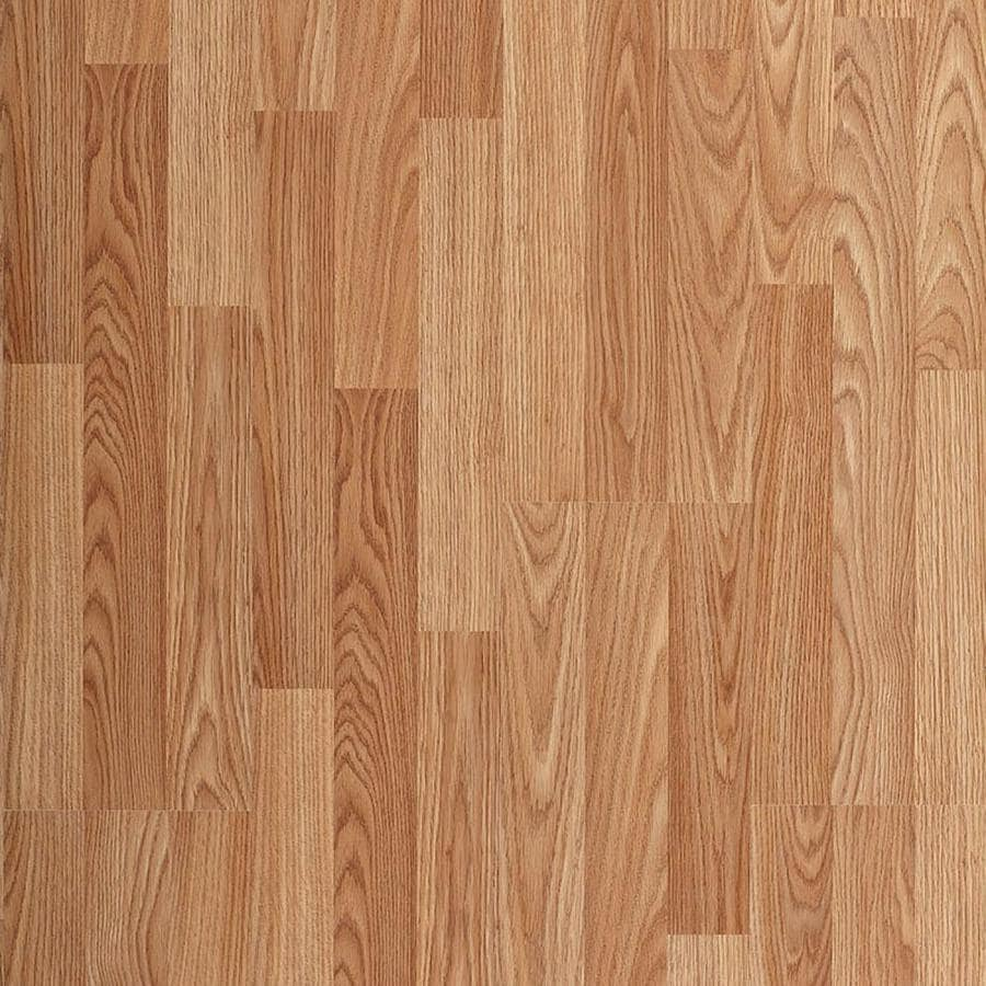 shop project source w x l natural oak smooth laminate floor wood planks at. Black Bedroom Furniture Sets. Home Design Ideas