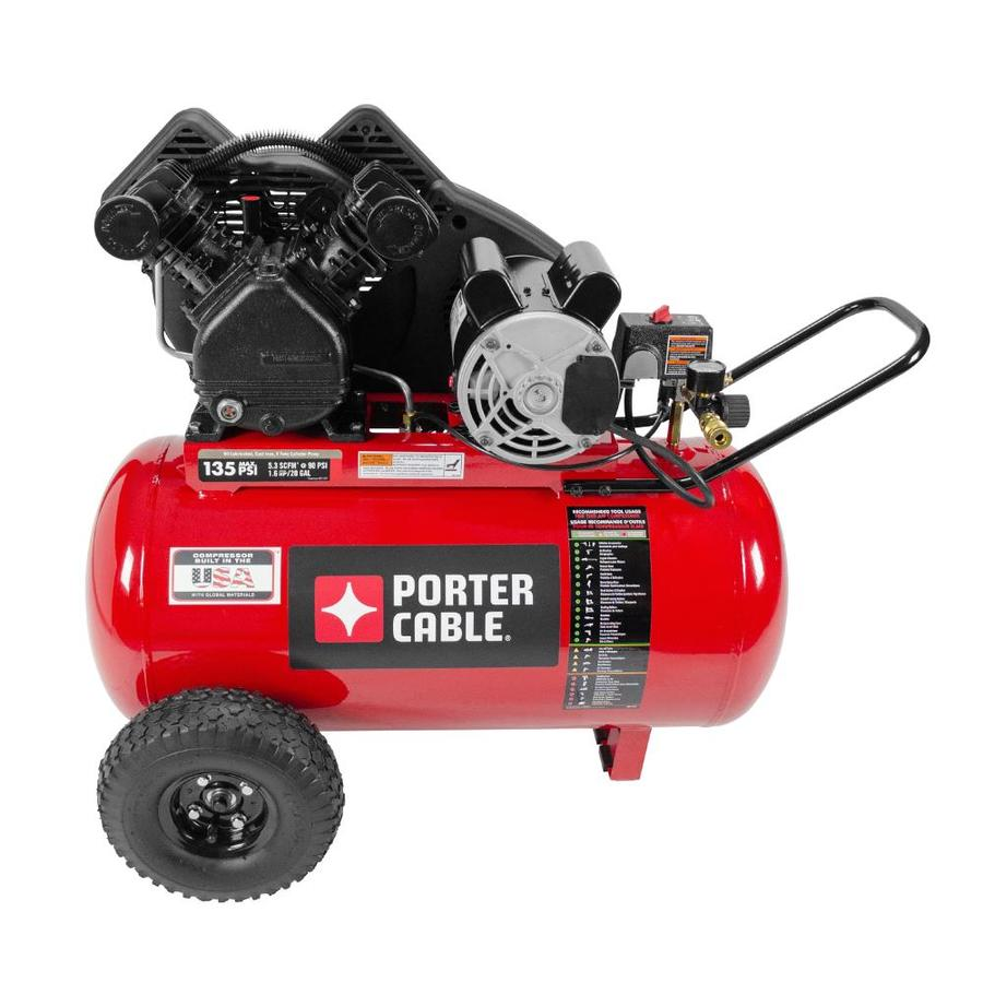 PORTER-CABLE 1.6-HP 20-Gallon 135-PSI 120-Volt Horizontal Portable Electric Air Compressor