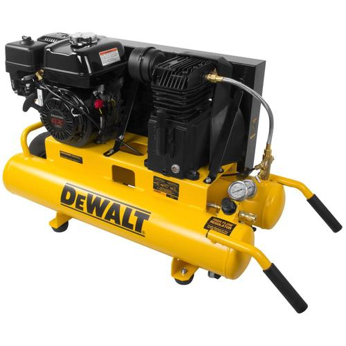 DEWALT DeWALT 8-Gallon Single Stage Portable Gas Twin Stack Air Compressor at Lowes.com