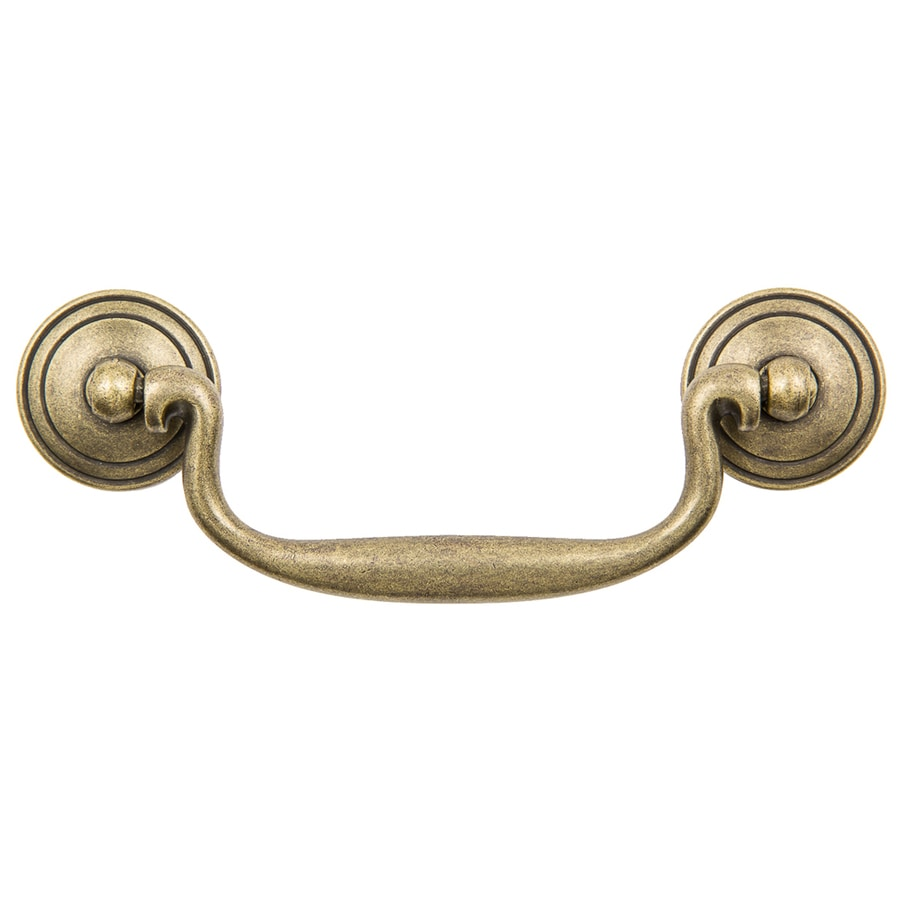 Continental Home Hardware 4-in Center-to-Center Vintage Brass Furniture Bail Cabinet Pull