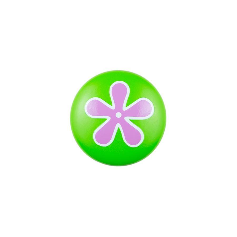 Sumner Street Green with Pink Flower Round Cabinet Knob