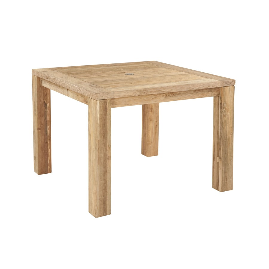 allen + roth Arbormere 39.38-in Natural Wood Square Patio Dining Table