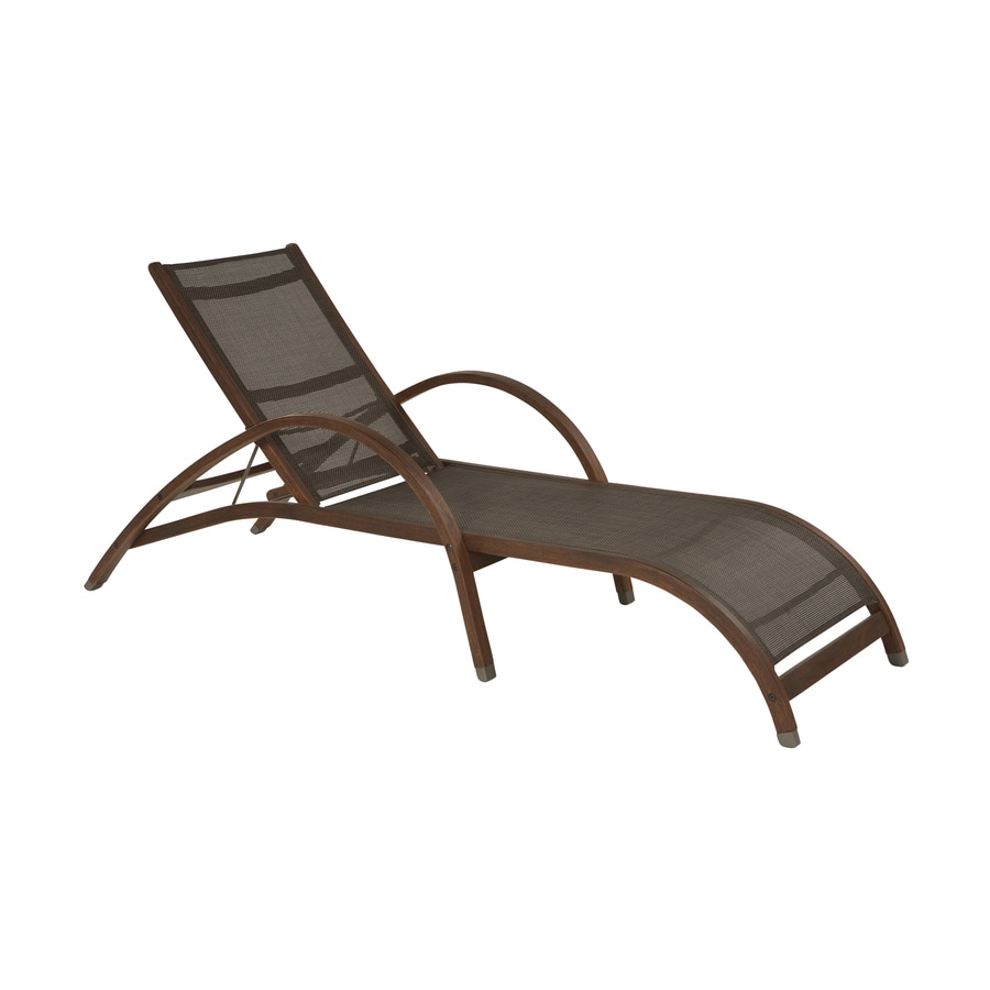 allen + roth Woodwinds Sling Seat Wood Patio Chaise Lounge