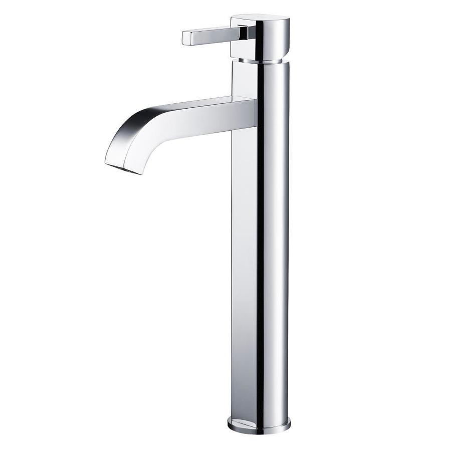 Kraus Vessel Mixer Chrome 1-Handle Vessel WaterSense Bathroom Faucet (Drain Included)