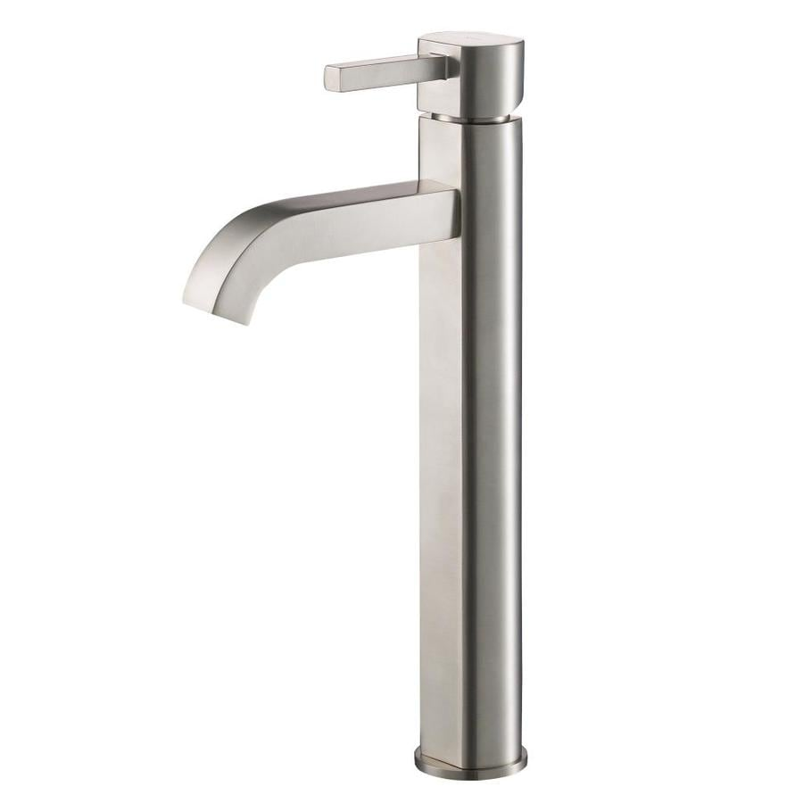 Kraus Vessel Mixer Satin Nickel 1-Handle Vessel WaterSense Bathroom Faucet (Drain Included)