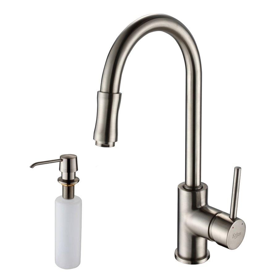shop kraus premium satin nickel 1 handle pull down kitchen premium single handle pull out sprayer kitchen faucet in