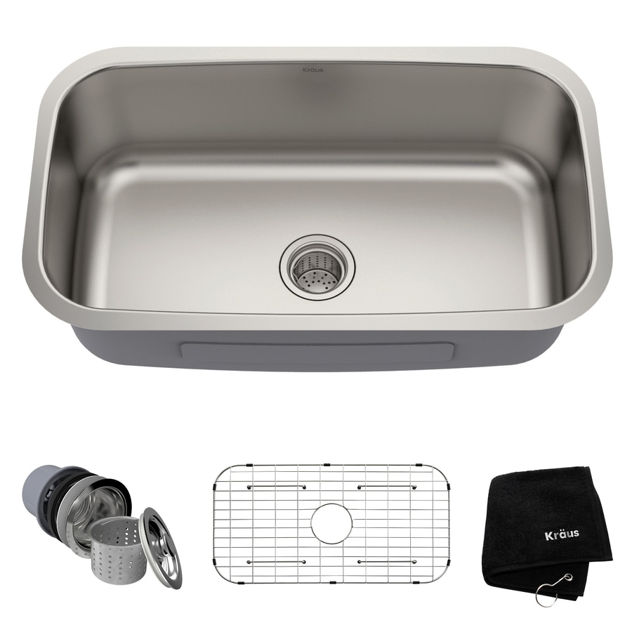 Kraus Kitchen Sink 18.38-in x 31.5-in Stainless Steel Single-Basin Undermount Residential Kitchen Sink All-In-One Kit