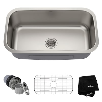 Kraus Premier Kitchen Sink 31.5-in x 18.38-in Stainless ...