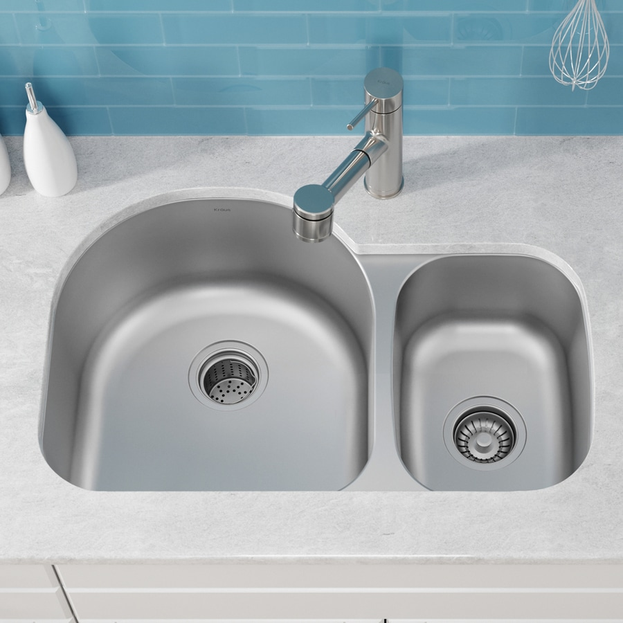 Kraus 19.5-in x 30-in Stainless Steel Double-Basin Undermount Kitchen Sink