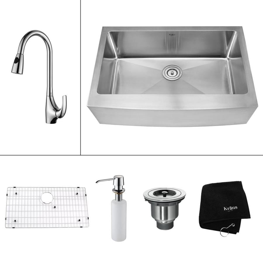 Kraus Kitchen Combo 20-in x 29.75-in Single-Basin Stainless Steel Apron Front/Farmhouse Kitchen Sink