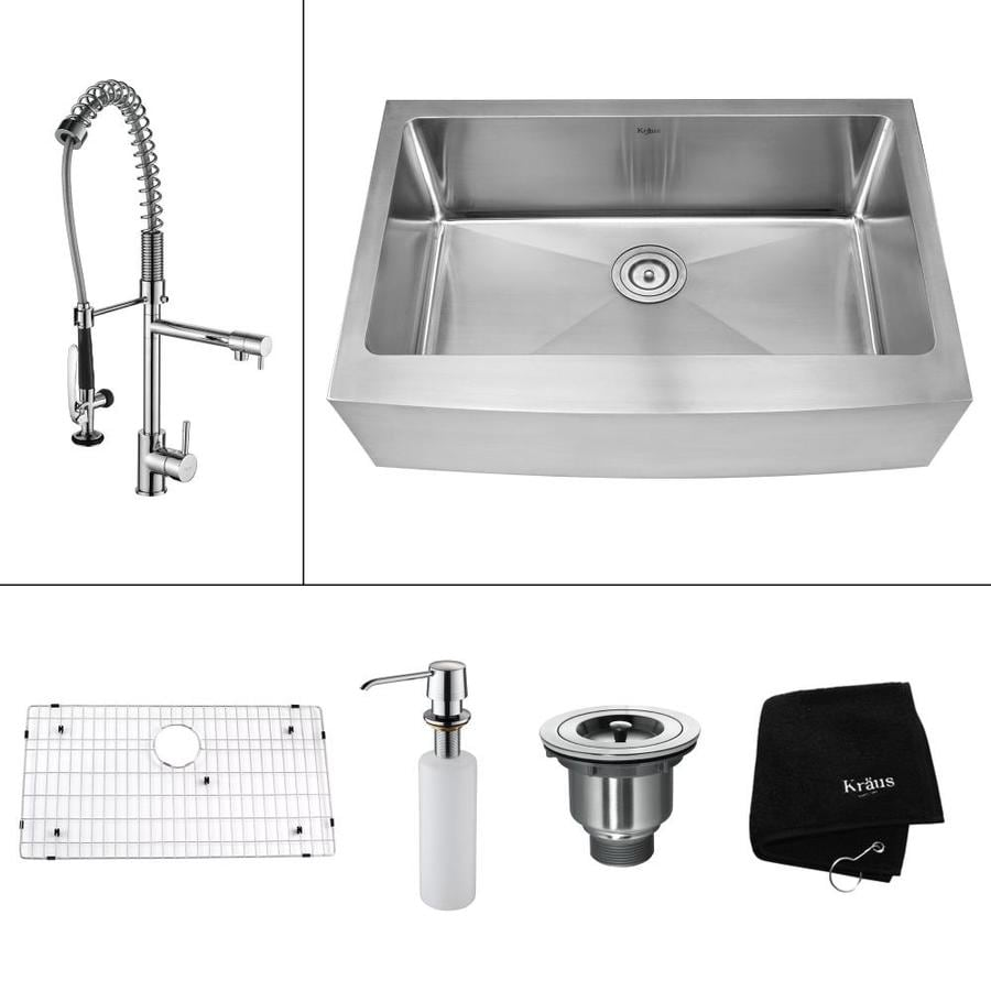 Kraus Kitchen Combo 20.75 In X 32.9 In Single Basin Stainless Steel Apron