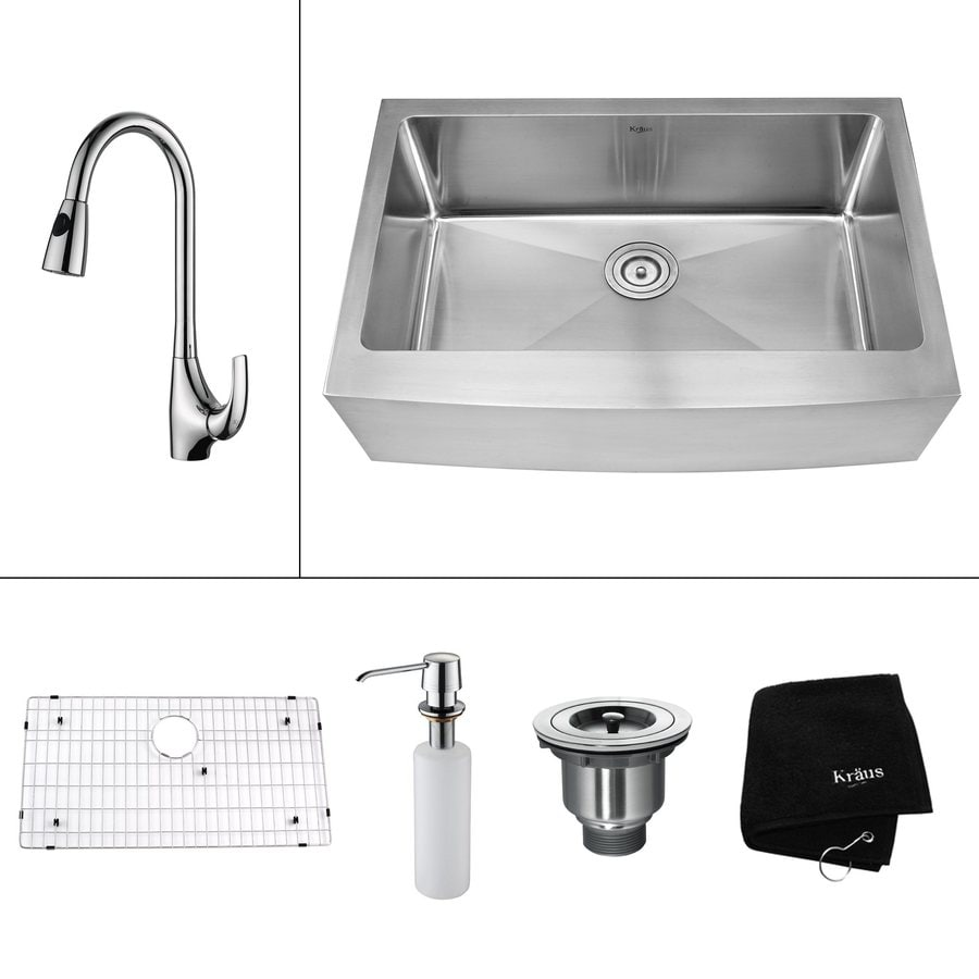 Kraus Kitchen Combo 20.75-in x 32.9-in Steel-Stainless Single-Basin-Basin Stainless Steel Apron Front/Farmhouse-Hole Kitchen Sink