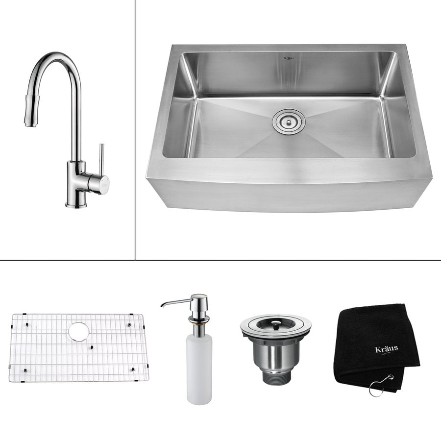 Kraus Kitchen Combo 20.75-in x 32.9-in Steel-Stainless Single-Basin Apron Front/Farmhouse Kitchen Sink